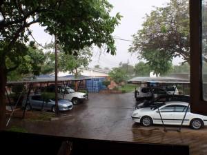 Första regnskuren sen jag kom hit