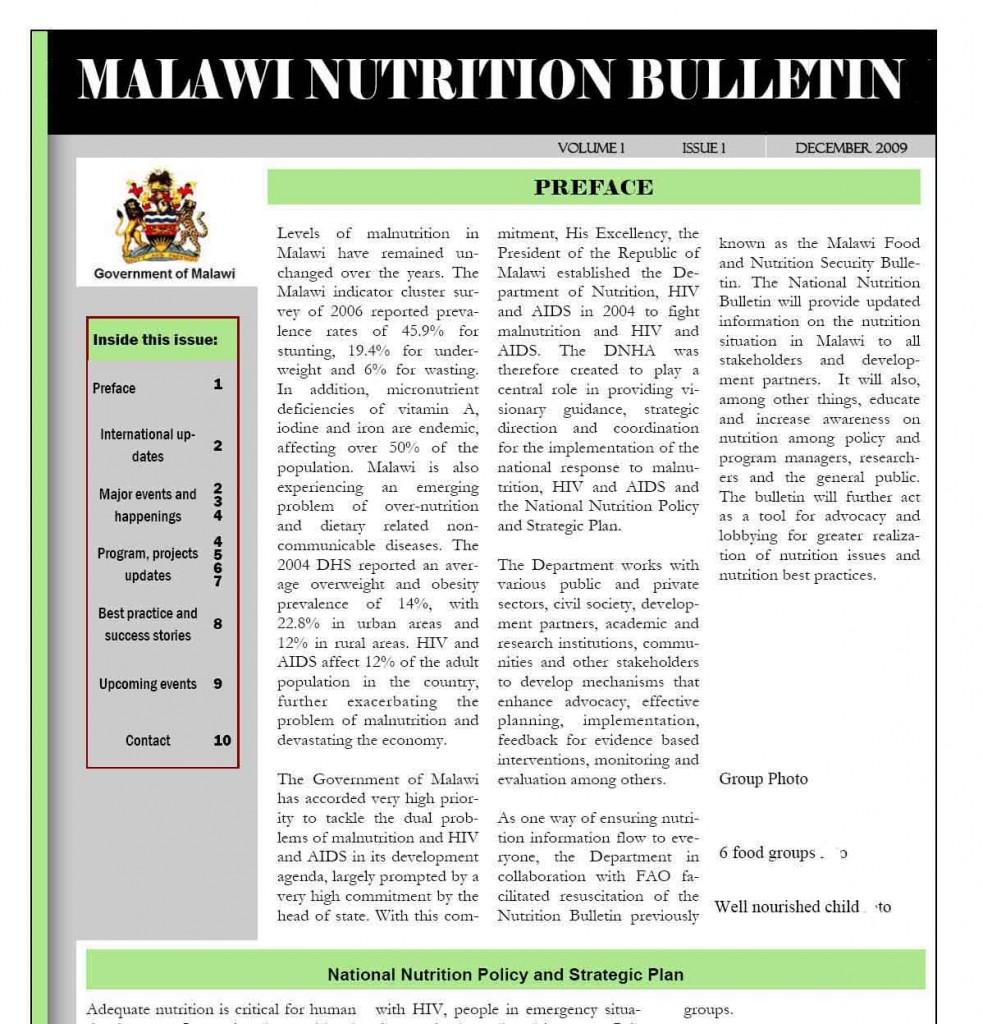 Malawi Nutrition Bulletin kopiera