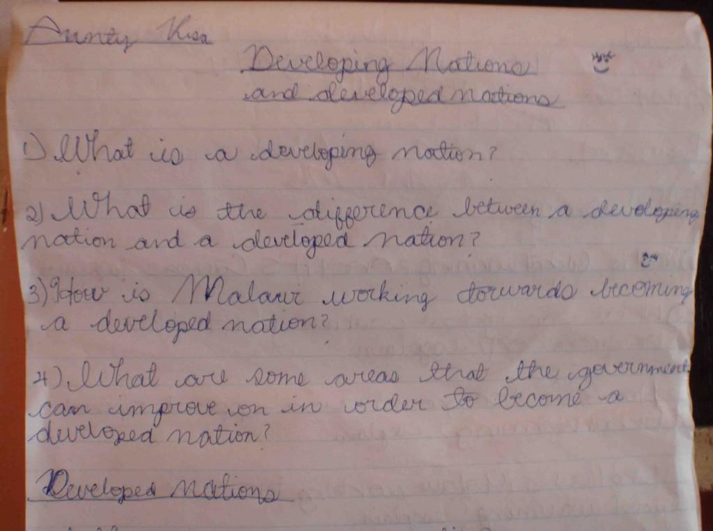 Malawi skolanteckningar frågor